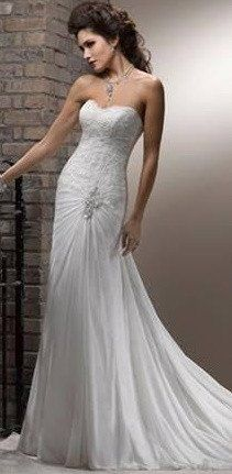 Strapless Sheath Wedding Gown with Ruched Crystal Embellishment