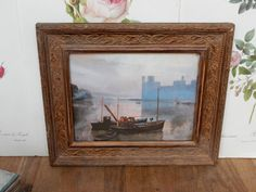A lovely Vintage Picture in Frame, Retro , boho, Old Picture, Vintage Frame. by Route46Vintage on Etsy