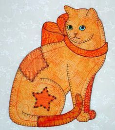 Anna's Awesome Appliques: More Patch Cats Cat Quilt Patterns, Applique Patterns, Applique Designs, Cat Applique, Machine Embroidery Applique, Applique Quilts, Dog Quilts, Animal Quilts, Quilt Baby