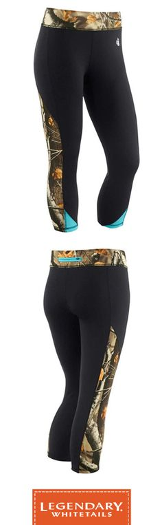 Women's Full Range Workout Capri Pants - Big Game Camo & Teal. Also features a unique zippered back waistline pocket.  #LegendaryWhitetails