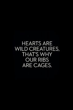 Hearts are wild creatures, that's why our ribs are cages. Those crazy love quotes - words Words Quotes, Wise Words, Me Quotes, Sayings, Qoutes, Tatto Quotes, Great Quotes, Quotes To Live By, Inspirational Quotes
