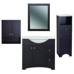 Bathroom storage and mirror set