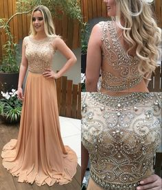 Champagne A-line beading long prom dresses,evening dresses