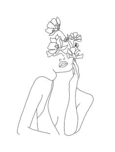 How do you drink your coffee? Art Drawings Sketches, Easy Drawings, Tattoo Drawings, Line Drawings, Minimal Drawings, Line Art Tattoos, Flower Sketches, Outline Art, Flower Outline Tattoo