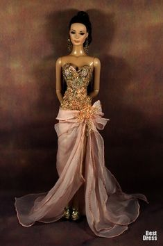 Cheap Dresses: Barbie Girl In Gorgeous Prom Dress Barbie Gowns, Barbie Dress, Barbie Clothes, Barbie Doll, Fashion Royalty Dolls, Fashion Dolls, Glamour, Diva Dolls, Dolls Dolls
