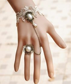Gingerbella - White Lace Victorian Style Bracelet and Ring, $14.99 (http://www.gingerbella.com/white-lace-victorian-style-bracelet-and-ring/)