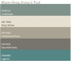 Warm Grey, Ivory, & Teal color palette.  These are the paint colors I will be using in my house.  Shoji white for ceilings and trim Intellectual Grey for the living, dining and kitchen Gauntlet Grey for Bedroom Underseas for bathroom Lagoon as accent in art niches