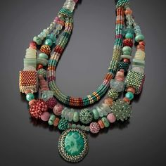 Beadwoven necklace by Julie Powell.