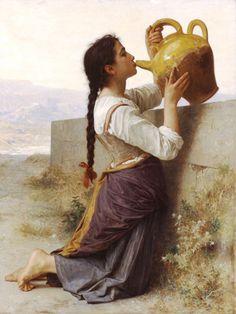 La soif-William Adolphe Bouguereau (1825 – 1905, French)