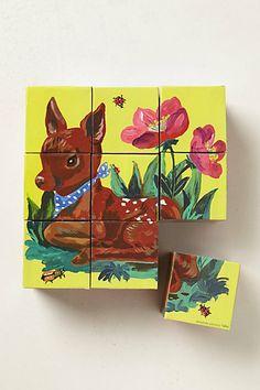 modpodge retro art onto blocks for a cute kids toy