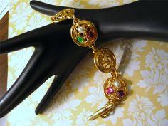 Multicolor Stones & Faux Pearls Link Bracelet Matte Goldplated Toggle Closure #unbranded #Statement