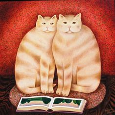 Martin Leman - Cats with book ' Francesca and Gordon' oil on board painting online at www.navigatorarts.co.uk