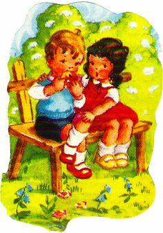 Two little children -vintage, printable