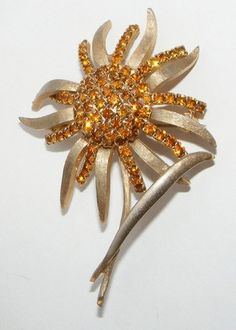 Vintage Weiss Rhinestone Goldtone Flower Brooch Pin Signed Costume Jewelry | eBay SOLD