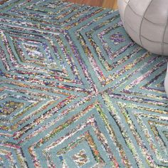 Bungalow Rose Hand-Tufted Blue Area Rug