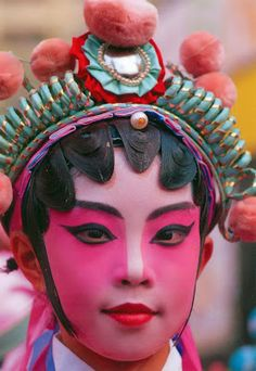 (Hong Kong) - Elaborate make-up of Chinese Opera performer