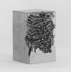 Saatchi Art is pleased to present the sculpture, 'La névrose du hérisson,' by Benoist Van Borren. Original Sculpture: Steel, Concrete on Steel, Other. Size is H x 3 W x 3 in. Concrete Sculpture, Steel Sculpture, Art Sculpture, Cement Art, Concrete Art, Concrete Design, Concrete Furniture, Recycled Furniture, Furniture Ideas