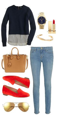 We're loving everything about this ensemble: skinny jeans & a cozy sweater paired with easy-to-slip-on loafers and a satchel!