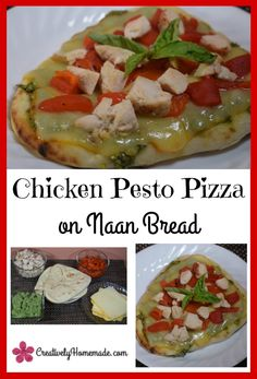 Pizza night just got easier! This pesto chicken naan bread pizza recipe can be in the oven in just 5 minutes.  Learn how to make it here!