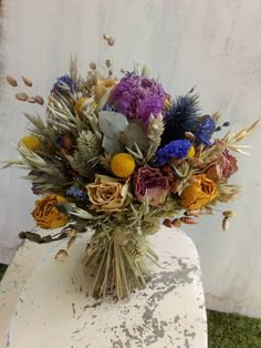 Dried Flower Bouquet Bright Mix, by BellaPoppyFlowers on Etsy Hand Tied Bouquet, Dried Flower Bouquet, Dried Flowers, Flower Wall Decor, Floral Wall Art, Bridesmaid Flowers, Wedding Flowers, Blue Delphinium, Country Style Wedding