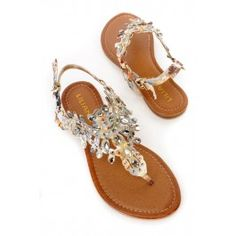 Floral Gemstone Embroidered Thong Sandals Faux Suede