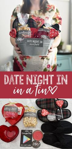 A Gift Basket With Things For A Date Night IN For Valentines Day!