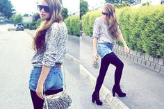 sequin sweater top, high waisted denim shorts, black tights, & black boots