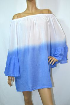 Shelley Indian Tropical Ruffle Sleeve Off Shoulder Top- White/Chambray