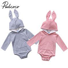 2017 Фирменная Новинка для новорожденных для маленьких девочек мальчик с капюшоном с заячьими ушками комбинезон с длинными рукавами комбинезон прекрасный кролик одежда купить на AliExpress