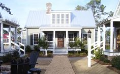 231 Easton Way - Farmhouse - Exterior - by Our Town Plans Small Cottage Homes, Small Cottages, Cottage Plan, Cottage Style Homes, Cozy Cottage, Beach Cottages, Cottage House, Cottage Living, Coastal Cottage