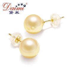 [daimi] natural akoya pearl earrings aaa 18k yellow gold studs akoya cutured pearls for girl top 1 sale sheila