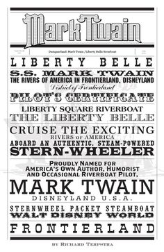 In this week's Attraction Typography Case Study we'll look at the fonts used for Disneyland's Mark Twain Riverboat and its counterpart, th. Disney Sign, Disney Love, Disney Art, Disney Fonts, Disney Stuff, Walt Disney, Disney Cruise, Disney Posters, Disney Quotes
