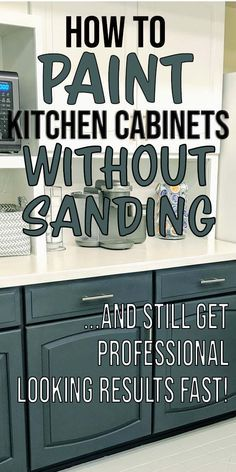 Learn how to paint kitchen cabinets without sanding! I used this paint and technique to paint my kitchen cabinets two tone - white cabinets on the top and gray on the bottom! Painted Kitchen Island, Distressed Kitchen Cabinets, Clean Kitchen Cabinets, Kitchen Faucets, Painting Kitchen Cabinets White, Kitchen Paint, Painting Cabinets, White Cabinets, Kitchen Wood