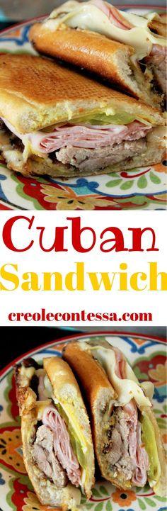 My favorite sandwich Roasted Pork Cuban Sandwich -Creole Contessa Cuban Recipes, Pork Recipes, Cooking Recipes, Recipies, Cuban Sandwich, Soup And Sandwich, Sandwich Recipes, I Love Food, Good Food