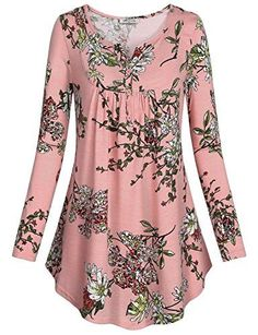 Women's Crewneck Long Sleeve Floral Shirts Flared Casual Tunic Tops - Fashion - The Fashion Casual Tops For Women, Look Cool, Ladies Dress Design, Blouse Designs, Casual Outfits, Fashion Dresses, Tunic Tops, Clothes For Women, Floral Shirts