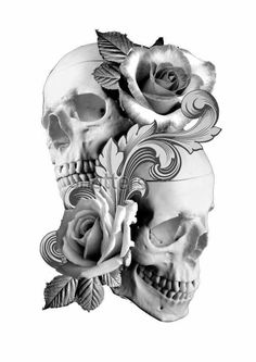 skull and flowers Rose Tattoos, Body Art Tattoos, Sleeve Tattoos, Skull Tattoo Design, Tattoo Designs, Tattoo Sketches, Tattoo Drawings, Tattoo Crane, Image Triste