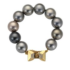 Deco Bow Pearl Bracelet by Jo Bell Jewellery