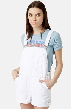 Spencer heads off to college in these...one strap down. Topshop Moto Dungaree Short Overalls | Pretty Little Liars