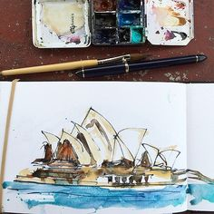 On the way back from a fun day filming for my #sketchingnow edges course (starting 2 sept) and thought I would paint the #sydneyoperahouse again on the ferry. I prepared myself this time with the right mixes in my palette but it was still insane. The ferr | Flickr - Photo Sharing!