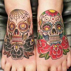 Dia De Los Muertos foot tattoos