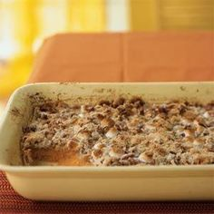 Sweet Potato Casserole | MyRecipes.com This is FABULOUS...it gets requested every year!  Substitute Fat-Free Evaporated Milk for the half-&-half, you'd never know the difference.