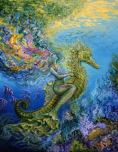 girl riding seahorse - painting titled 'Side Saddle', by Josephine Wall