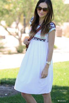 White Geometric Print Knee Length Skirt - Sheinside.com