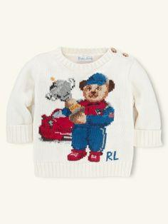 Boy`s Sweet Bear Sweater White - Ralph Lauren - Babyshop Boys Sweaters, White Sweaters, Baby Shop, Christmas Sweaters, Baby Kids, Polo Ralph Lauren, Clothes For Women, Bears, Knitting