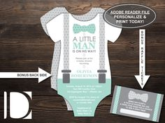 Little Man Baby Shower Invitation in Mint and Gray with FREE diaper raffle ticket file Baby Shower For Men, Mint Baby Shower, Baby Shower Parties, Baby Showers, Free Diapers, Diaper Raffle Tickets, Bow Tie Template, Baby Shower Gender Reveal, Little Man