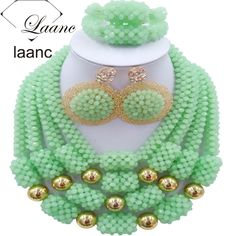 Find More Jewelry Sets Information about African Costume Dubai Jewelry Sets Mint Green Crystal Beads laanc AL031,High Quality bead and ribbon necklace,China beaded drapery Suppliers, Cheap bead spray from laanc african beads Store on Aliexpress.com