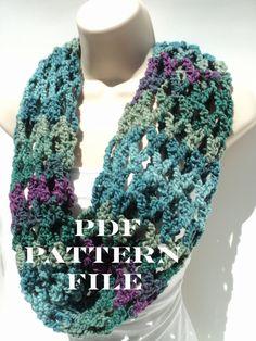 FREE Pattern - First Love Crochet Net Cowl - infinity scarf - head scarf - blue, purple, green view. $0.75, via Etsy.
