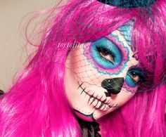 Very pretty sugar skull look, but it appears quite involved and time-consuming