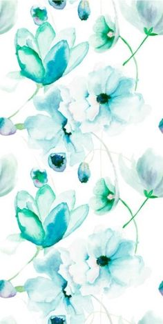 Papel de pared Turquoise Flowers
