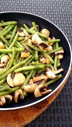 Geröstete Bohnen mit Pilzen